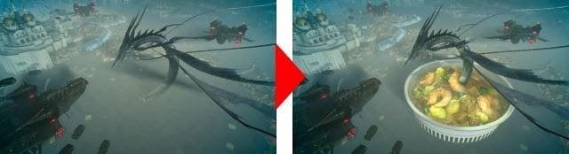 Leviathan von den Cup Noodles beschworen. Es gibt eine Theorie darüber, dass das mysteriöse Fleisch in Cup Noodles von Leviathan stammt.